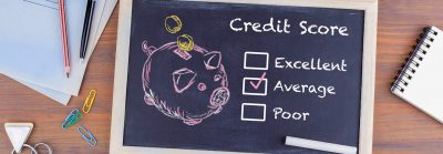 Chalkboard with different credit score levels