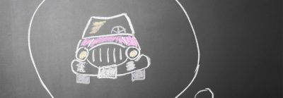 Chalk drawing of a car